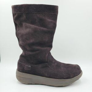 FitFlop Brown Suede Leather Winter Mid Calf Boots